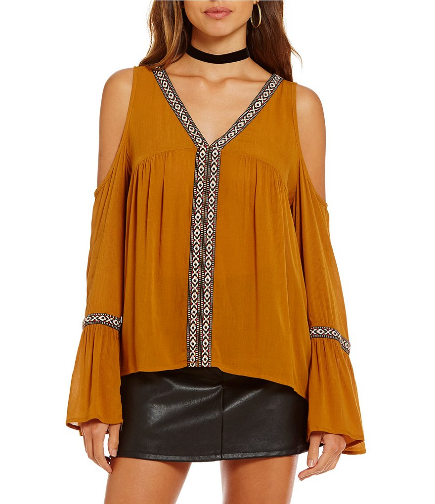 Jolt Embroidered Trim Cold-Shoulder Top