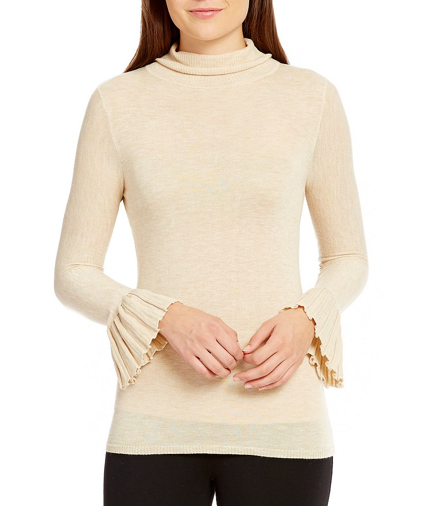 M.S.S.P. Long Bell Sleeve Mock Neck Sweater
