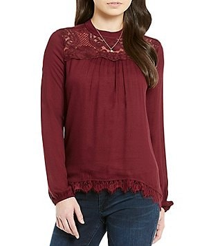 Jolt Lace Mock Neck Long-Sleeve Tunic
