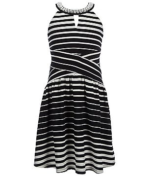 Monteau Girl Big Girls 7-16 Beaded Halter-Neck Striped Dress