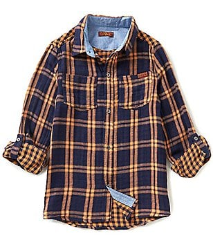 7 For All Mankind Big Boys 8-20 Plaid Roll-Tab-Sleeve Shirt