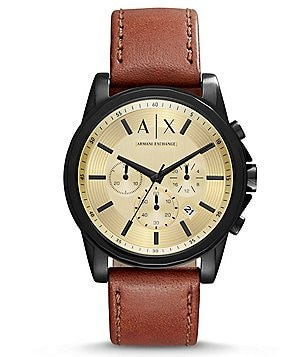 AX Armani Exchange Outerbanks Chronograph Leather-Strap Watch
