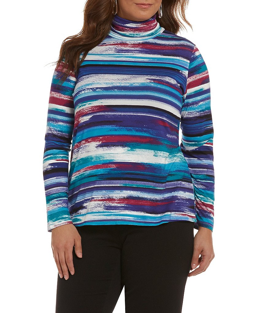 Investments Plus Essentials Striped Turtleneck