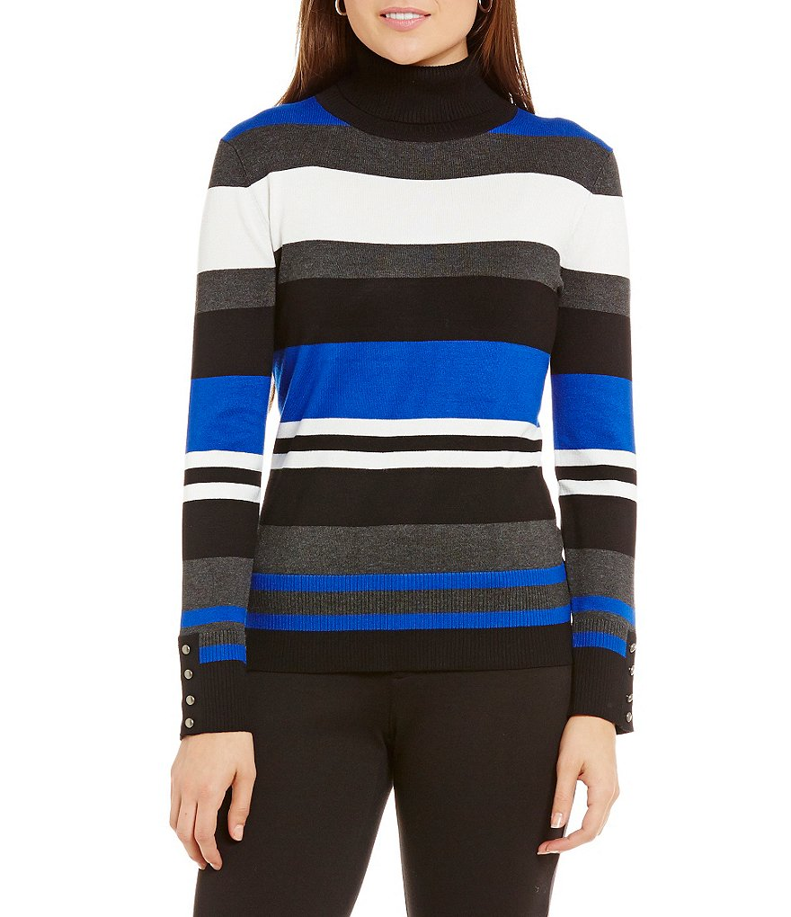Investments Turtleneck Striped Sweater