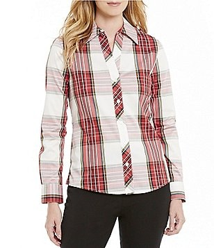 Investments Petites Gold Label Long Sleeve Button Front Shirt