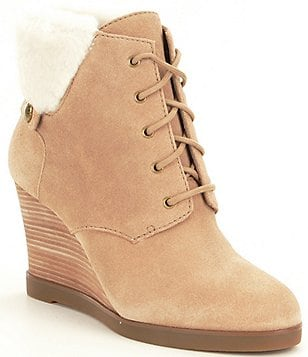 MICHAEL Michael Kors Carrigan Suede Fur Wedge Booties