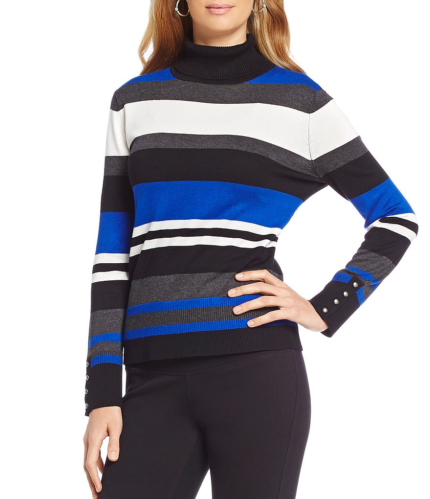 Investments Petite Turtleneck Striped Sweater