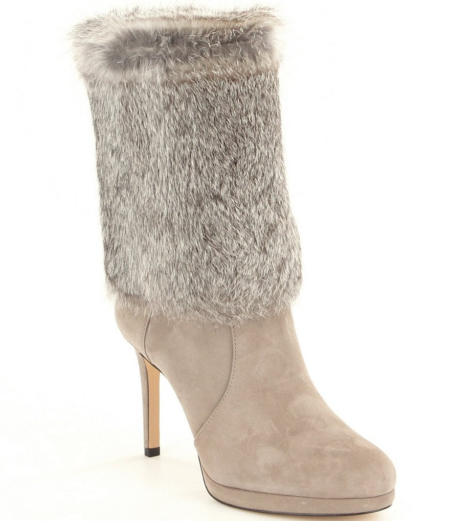 MICHAEL Michael Kors Faye Rabbit Fur Stiletto Booties