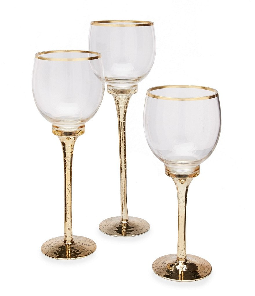 Home Essentials Cellini Gold-Rimmed Hurricanes, Set of 3