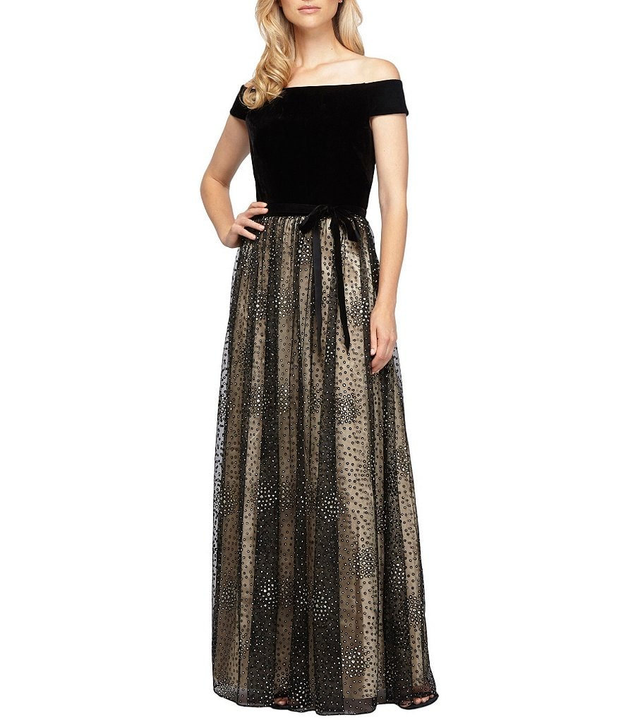 Alex Evenings Off-the-Shoulder Velvet Tie-Waist Ballgown