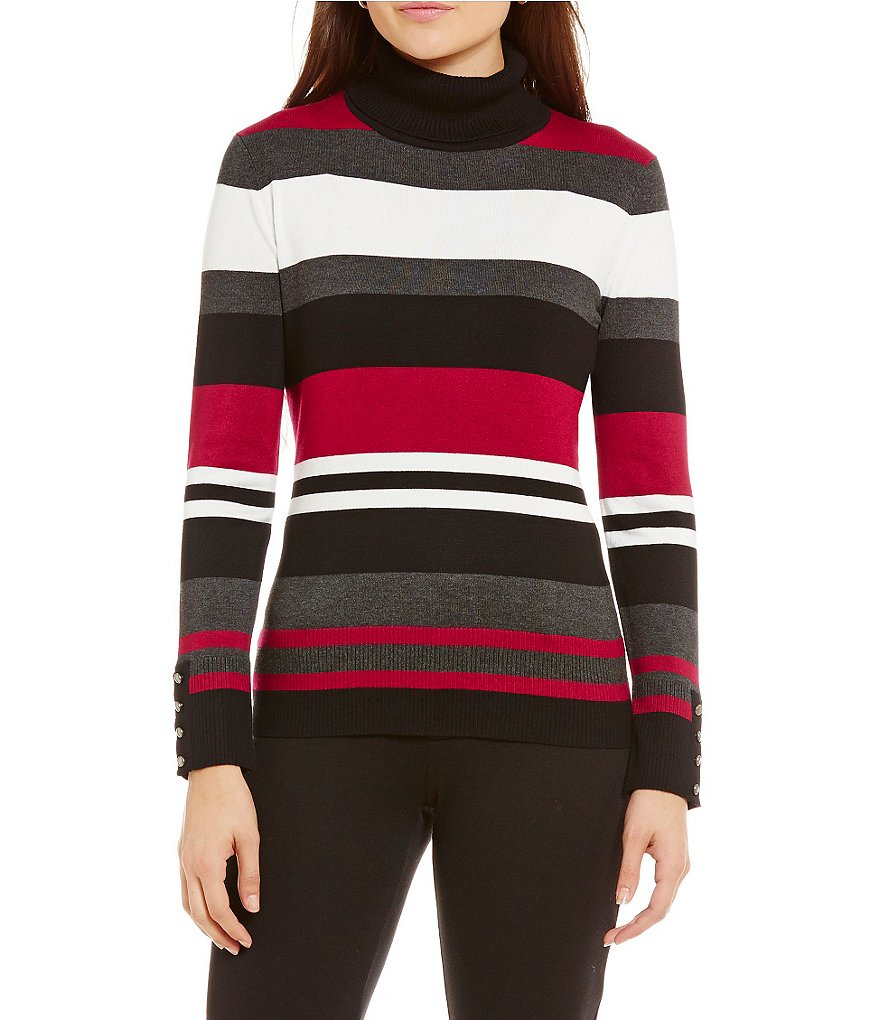Investments Petite Turtleneck Long Sleeve Striped Sweater