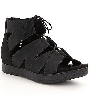 Eileen Fisher Link Lace Up Heel Zipper Sandals