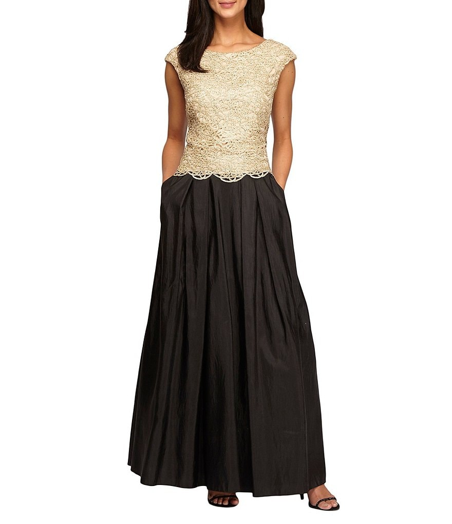 Alex Evenings Scallop Detail Cap Sleeve Ballgown