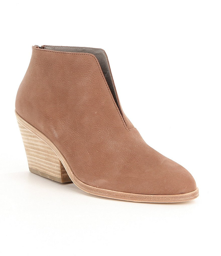 Eileen Fisher Nelson Matte Leather Open Slit Front Back Zipper Block Heel Booties