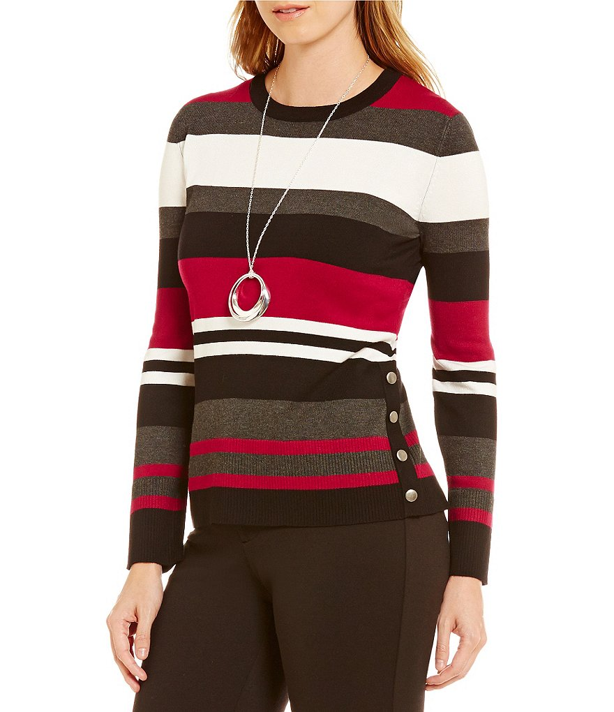 Investments Crew Neck Striped Sweater