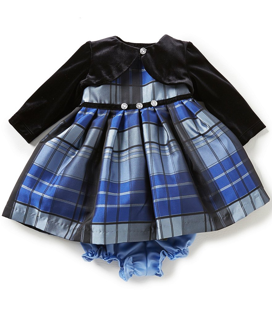 Pippa & Julie Baby Girls Newborn-9 Months Plaid Dress and Cardigan Set