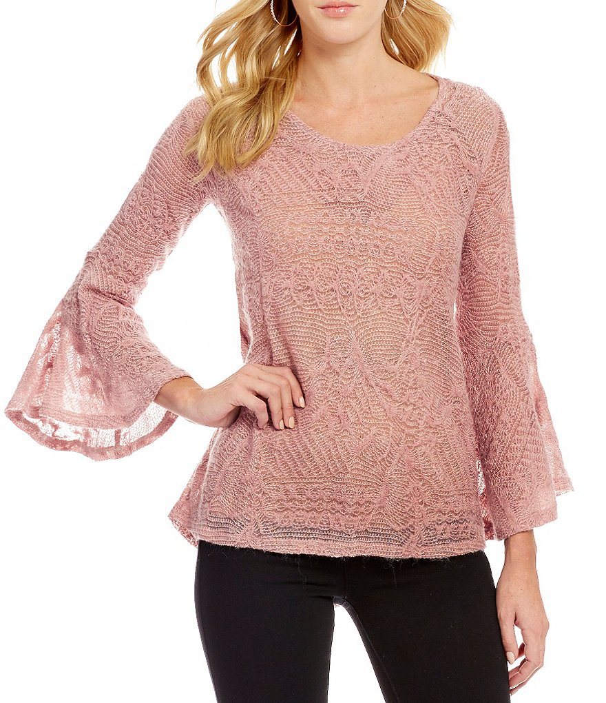 Jessica Simpson Hyne Bell-Sleeve Split-Back High-Low Sweater