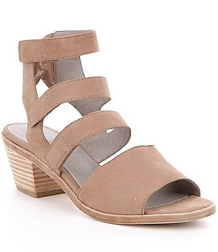 Eileen Fisher Vessey Leather Banded Block Heel Sandals