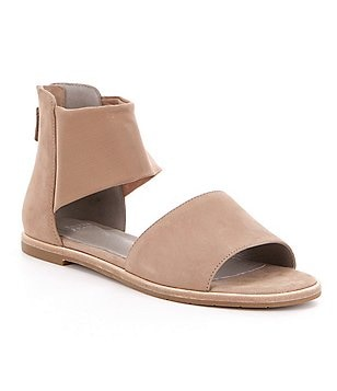 Eileen Fisher Sign Nubuck & Stretch Mesh Banded Sandals