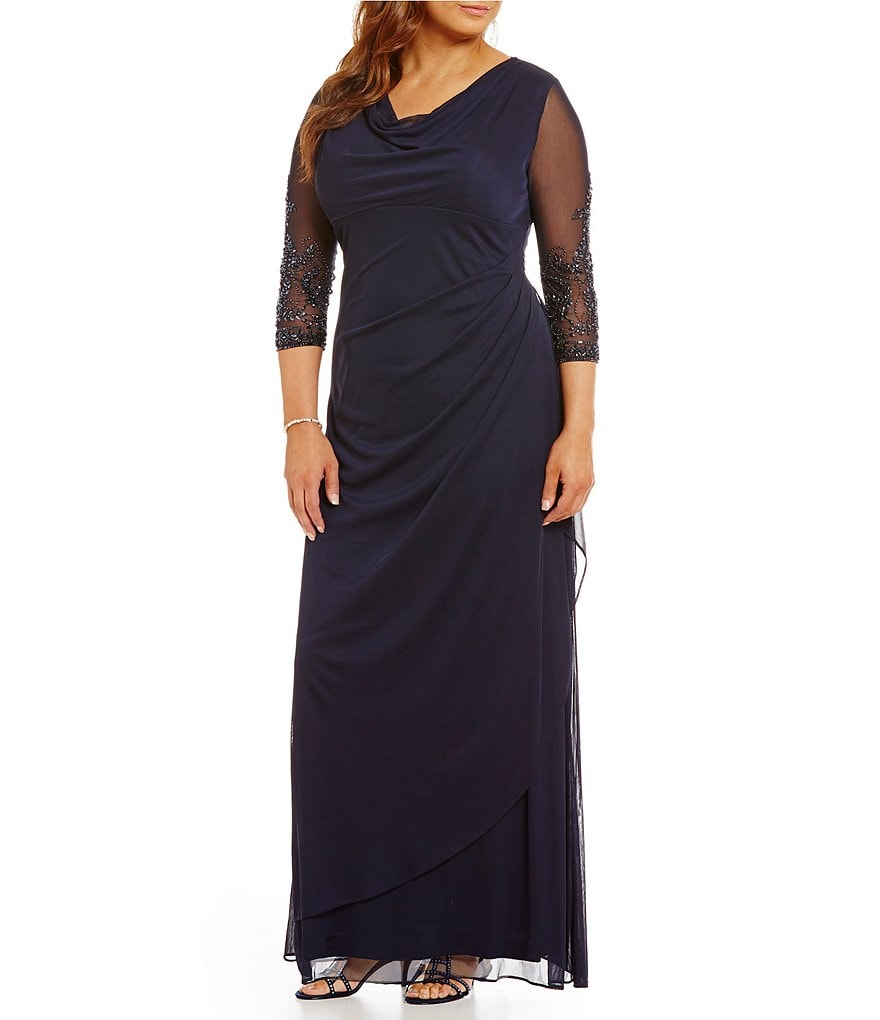 Alex Evenings Plus Beaded Illusion Sleeve Cowl Neck Dress