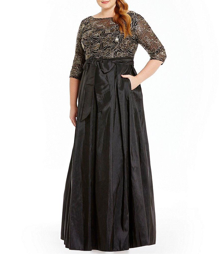 Alex Evenings Plus Embroidered Sequin Ballgown