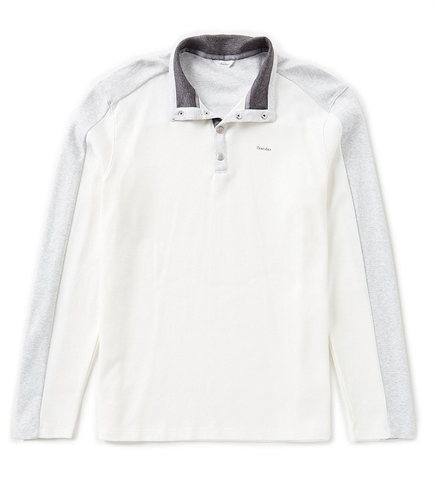 Calvin Klein Long-Sleeve Color Block Polo Shirt