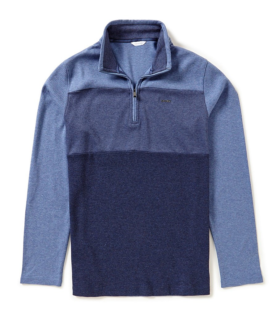 Calvin Klein Long-Sleeve Color Block Quarter-Zip Pullover