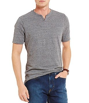 Cremieux Jeans Split Neck Solid Short-Sleeve Tee