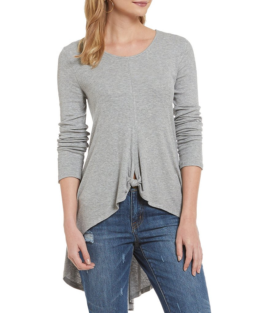 GB Knot Front Rib Knit High-Low Tunic