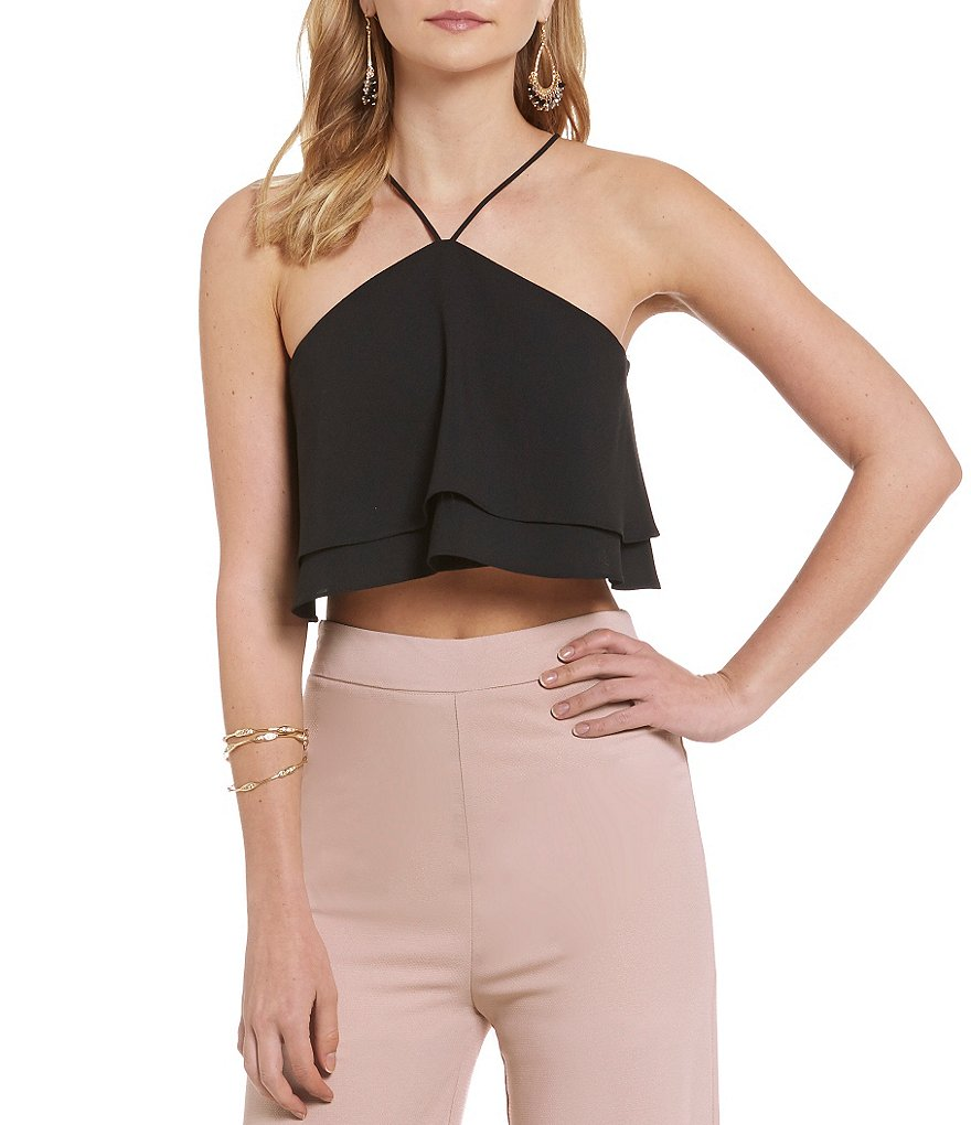 GB Double Layer Zip-Back Cropped Halter Neck Tank