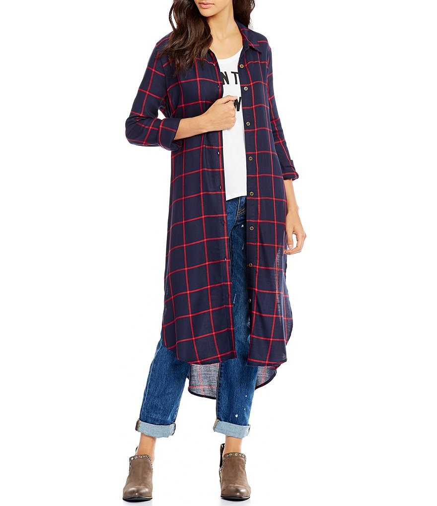 GB Plaid Button-Front Duster