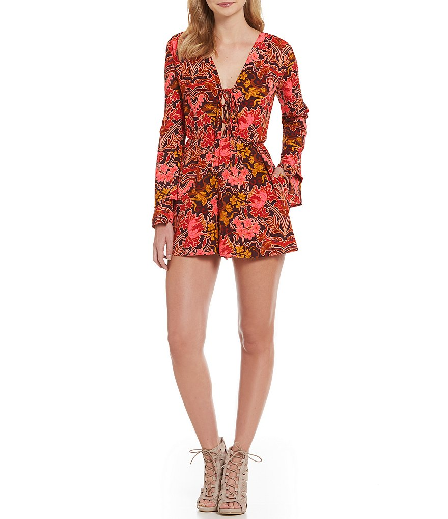 GB Layered Bell-Sleeve Floral-Printed Romper