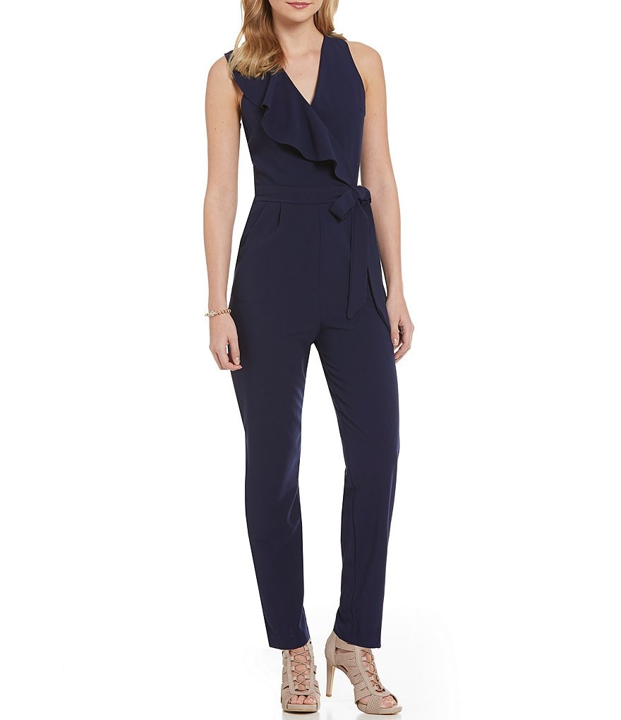 GB V-Neck Sleeveless Ruffle Jumpsuit