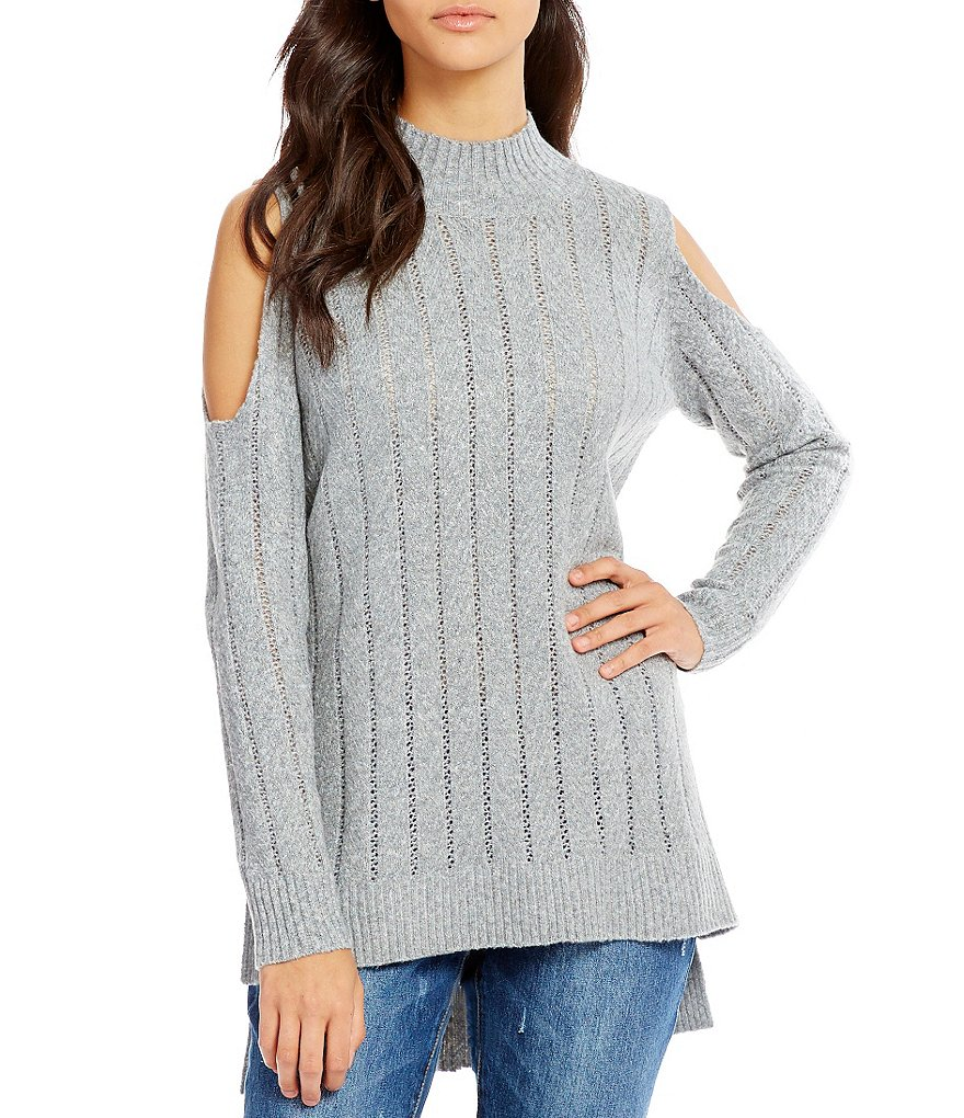 GB Cold Shoulder Mock Neck High-Low Sweater