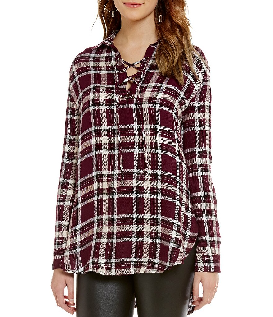 GB Plaid Lace-Up V-Neck Blouse