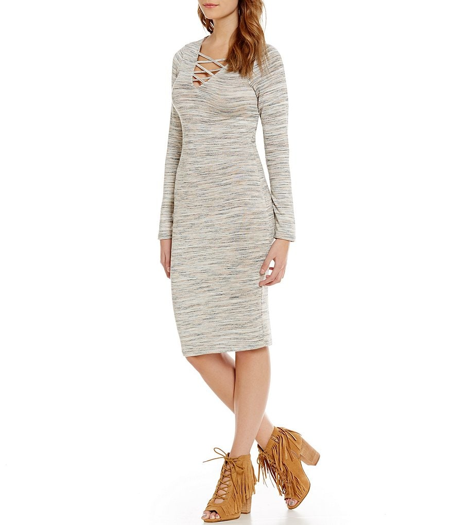 GB Lace-Up V-Neck Midi Sweater Dress