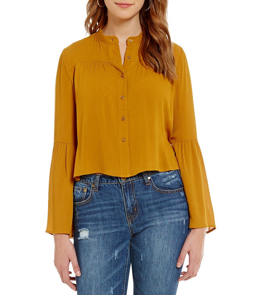 GB Button-Front Bell-Sleeve Cropped Blouse