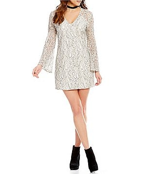 WAYF Guilty Pleasure Lace Long Sleeve Dress