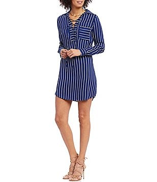 WAYF Stripe Lace Up Shirt Dress