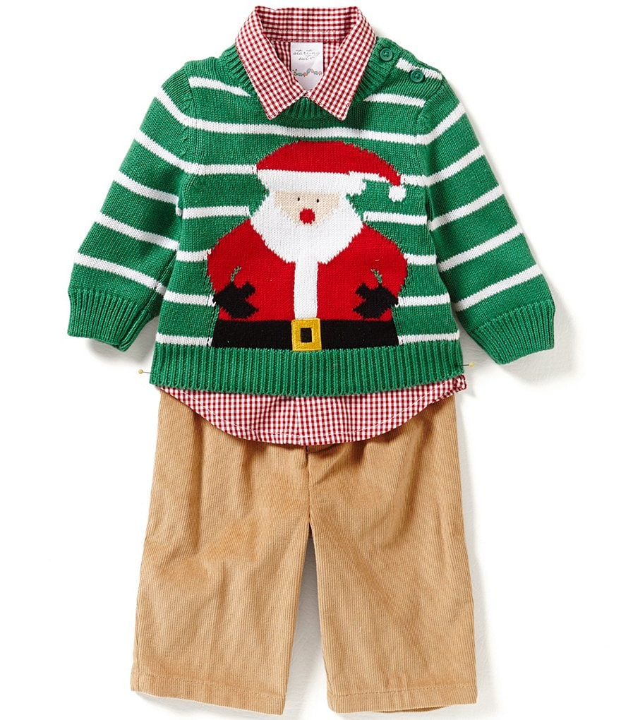 Starting Out Baby Boys 3-24 Months Christmas Santa 3-Piece Sweater Set