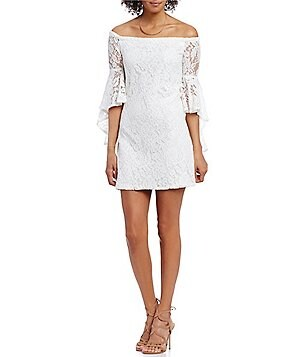 WAYF Sundown Off-The-Shoulder Bell Sleeve Lace Dress