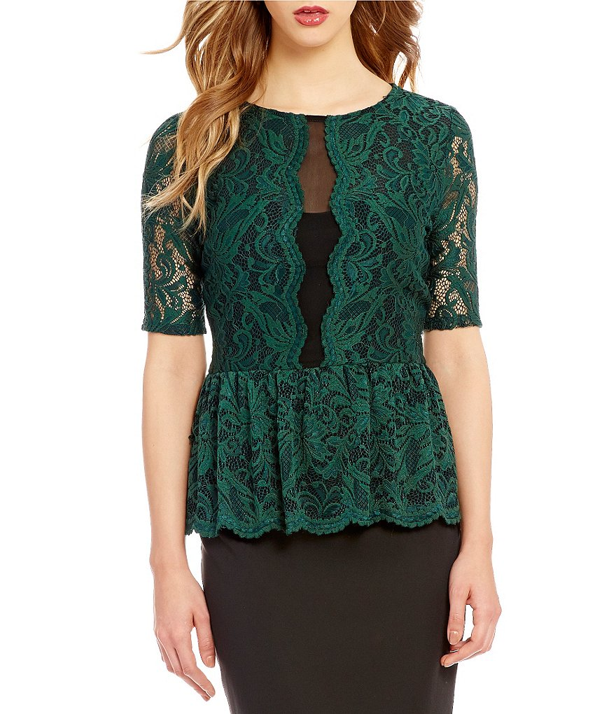 Antonio Melani Sally Mesh/Lace Knit Peplum Top