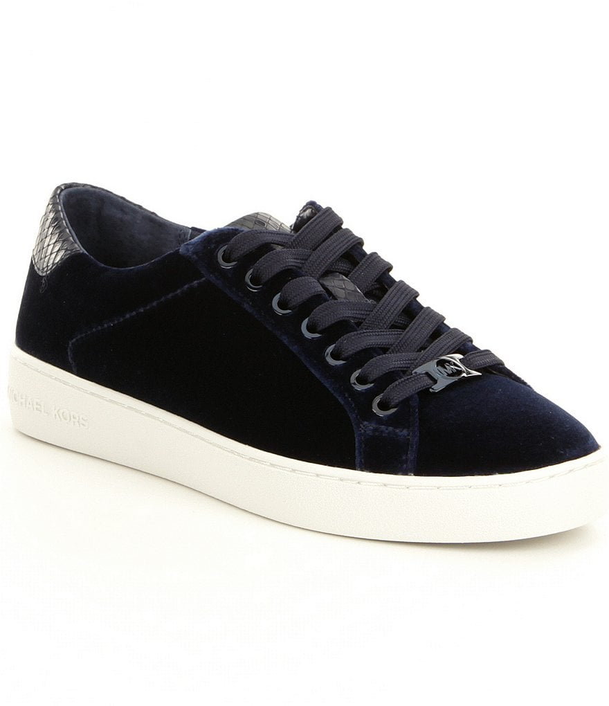 MICHAEL Michael Kors Irving Velvet Snake Print Trim Lace-Up Sneakers