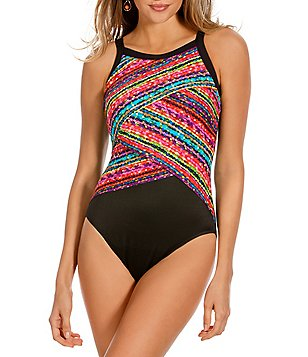 Miraclesuit Night Lights Layered High Neck One-Piece