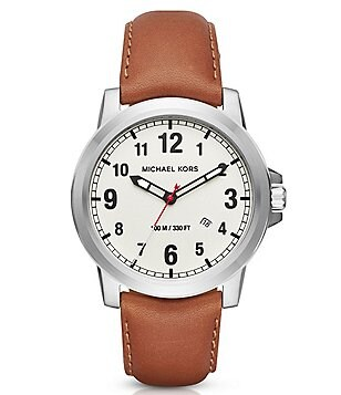 Michael Kors Paxton Analog & Date Leather-Strap Watch