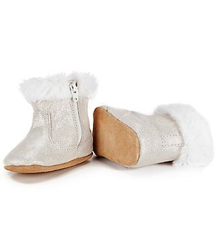 Robeez Baby Girls Thea Twinkle Soft Sole Faux-Fur Crib Shoes