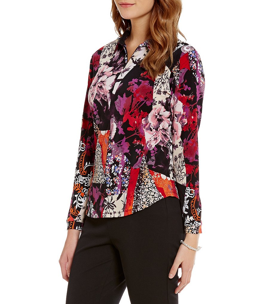 Investments Long Sleeve Floral Patchwork Zip-Up Top
