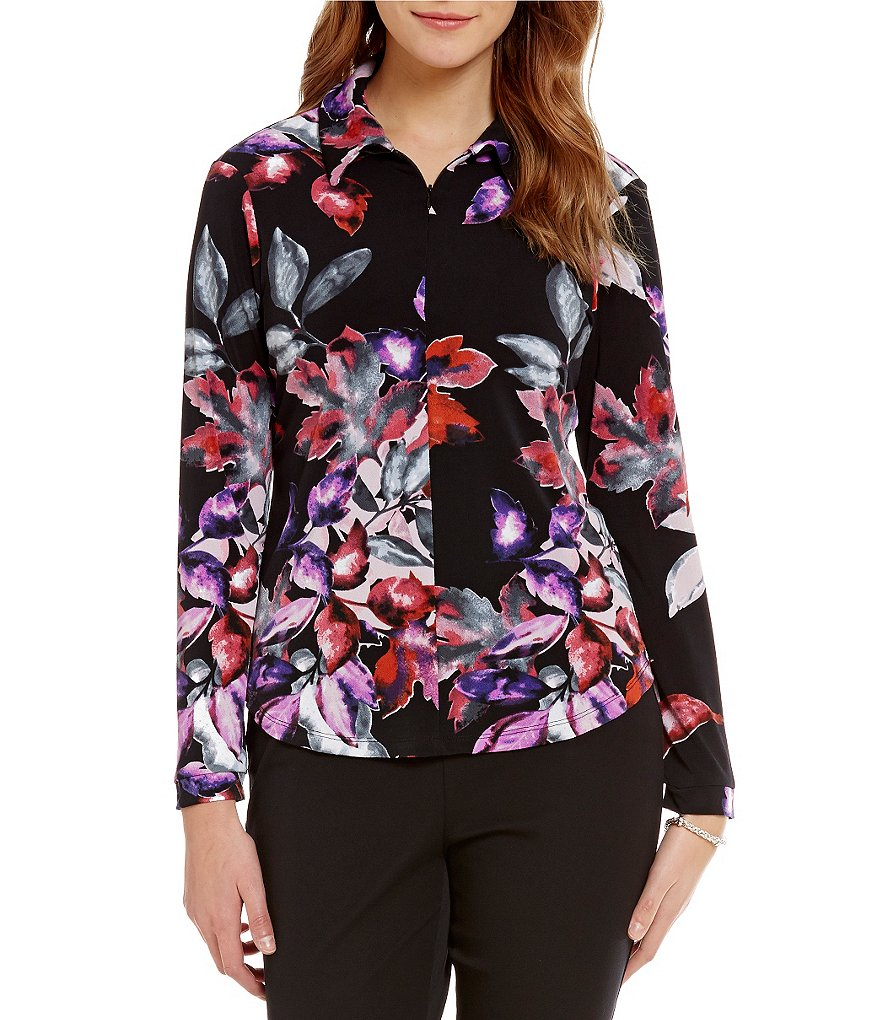 Investments Long Sleeve Poetic Garden Pattern Zip-Up Top