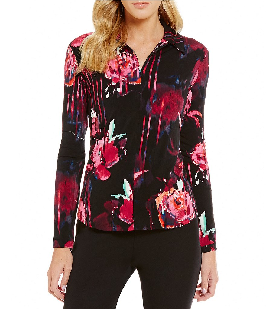 Investments Point Collar Long Sleeve Floral Printed Zip-Up Top