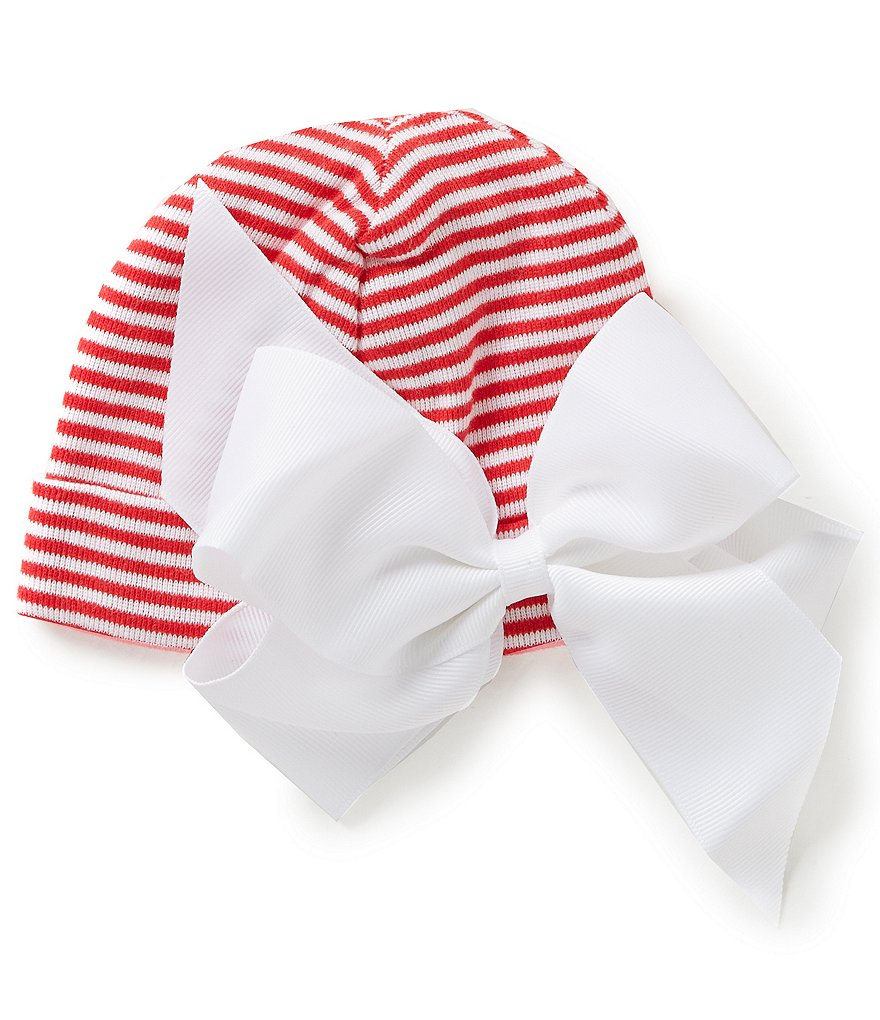 Mud Pie Baby Girls Newborn-3 Months Striped Bow Hat